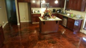 kitchen floor with stained concrete
