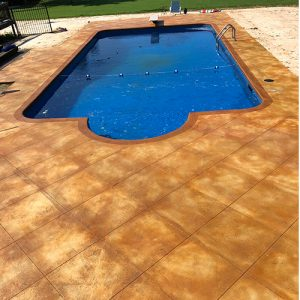 pool deck with stained concrete
