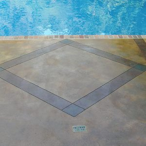 diamond etching accent on a pool deck
