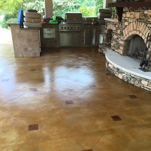 stained concrete outdoor patio with diamond etching