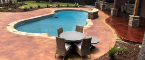 pool deck with acid stain