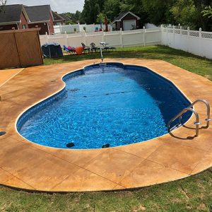 stained concrete pool deck diamond etching accents