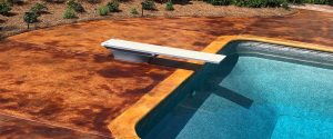 Pool Deck with a concrete acid stain