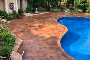 pool deck with acid concrete stain